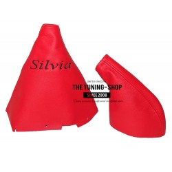 FOR NISSAN 200SX S14 SILVIA GEAR & HANDBRAKE GAITER RED LEATHER 200SX EMBROIDERY 2 PANELS