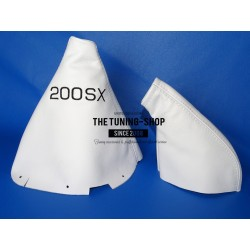FOR NISSAN 200SX S14 SILVIA GEAR & HANDBRAKE GAITER WHITE LEATHER SILVIA EMBROIDERY 2 PANELS