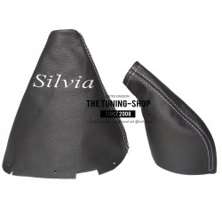 FOR NISSAN 200SX S14 SILVIA GEAR & HANDBRAKE GAITER BLACK LEATHER RED STITCHING 2 PANELS