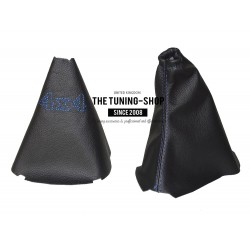 FOR LAND ROVER FREELANDER 2 LR2 06-14 MANUAL GEAR HANDBRAKE GAITER BLACK LEATHER BLUE 4 X4 LOGO EMBROIDERY