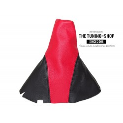 """FOR VW GOLF 5 03-09 JETTA 05-11 MANUAL GEAR GAITER RED LEATHER BLACK """"GTI"""" EMBROIDERY"""