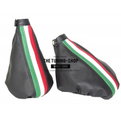 FOR ALFA ROMEO 156 FL 2003-2005 GEAR GAITER BLACK LEATHER EMBROIDERY NURBURGRING
