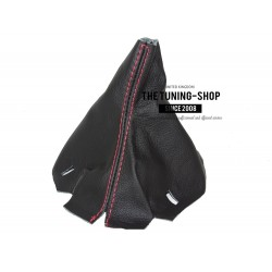 FOR MERCEDES C CLASS W204 07-14 MANUAL GEAR GAITER BLACK LEATHER WITH RED STITCH
