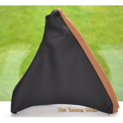 VAUXHALL MERIVA A 2002-2010 BLACK + BROWN LEATHER HANDBRAKE GAITER