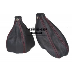 FOR ALFA ROMEO 166 GEAR HANDBRAKE GAITER BLACK LEATHER NEW
