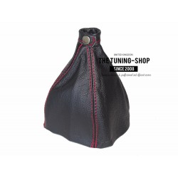 FOR ALFA ROMEO 166 1998-2007 MANUAL GEAR GAITER BLACK LEATHER RED STITCHING