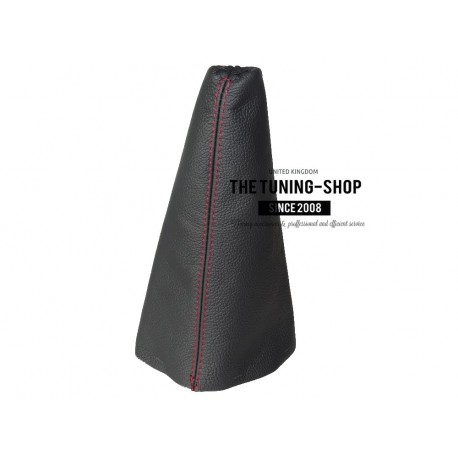 The Tuning-Shop Ltd for Honda Civic 5D Hatchback 1996-2000 Shift Boot Black Genuine Leather Red Stitching