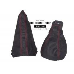 FOR VAUXHALL CORSA C 2000-2006 GEAR HANDBRAKE GAITER BLACK SUEDE ALCANTARA RED STITCHING