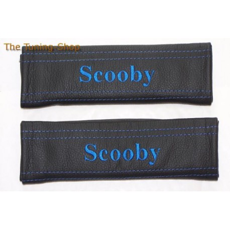 SEAT BELT COVERS BLACK GENUINE LEATHER EMBROIDERY MG TF BLUE STITCHING NEW