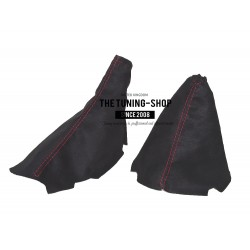 FOR CHEVROLET CORVETTE C6 2005-2013 GEAR HANDBRAKE GAITER BLACK LEATHER WITH RED STITCH