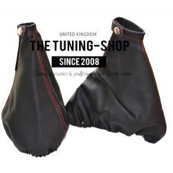 FOR ALFA ROMEO GT 2003-2010 RED STITCHING GEAR HANDBRAKE GAITER SET