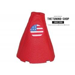 FOR  HONDA CIVIC MK8 SEDAN COUPE Si FA FD FG 06-11 GEAR GAITER BLACK LEATHER EMBROIDERY USA FLAG