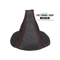 FOR  MAZDA RX-7 RX7 GEAR GAITER SHIFT BOOT BLACK LEATHER RED STITCHING