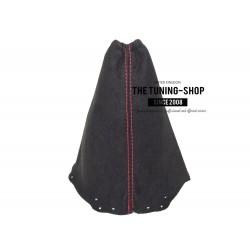 FOR NISSAN QASHQAI 2006+ GEAR GAITER BLACK ALCANTARA SUEDE RED STITCHING