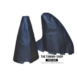 FOR BMW MINI COOPER R55 R56 R57 GEAR HANDBRAKE GAITER LEATHER BLUE STITCH