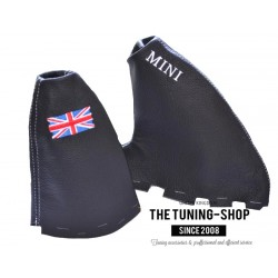 FOR BMW MINI COOPER R55 R56 R57 CLUBMAN GEAR  GAITER BLACK LEATHER WHITE STITCHING EMBROIDERY ENGLISH FLAG MINI