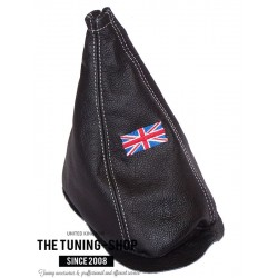 FOR MINI COOPER CLASSIC up to 2000 GEAR GAITER / SHIFT BOOT BLACK LEATHER RED THREAD EMBROIDERY