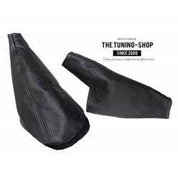 FOR MINI COOPER CLASSIC up to 2000 GEAR HANDBRAKE GAITERS / BOOTS BLACK LEATHER