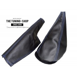 FOR MINI COOPER CLASSIC up to 2000 GEAR HANDBRAKE GAITERS / BOOTS BLACK LEATHER BLUE THREAD