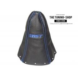 FOR SUZUKI SWIFT 2005-2010 GEAR GAITER BLACK LEATHER EMBROIDERY BLUE STITCHING