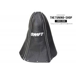 FOR SUZUKI SWIFT 2005-2010 GEAR GAITER BLACK LEATHER EMBROIDERY WHITE STITCHING