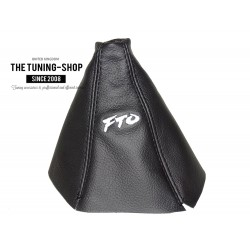FOR MTSUBISH FTO 1994-2000 GEAR GAITER BLACK LEATHER EMBROIDERY FTO WHITE