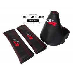 "FOR SEAT IBIZA 2009-2013 GEAR GAITER BLACK LEATHER RED ""FR"" EMBROIDERY"