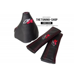 FOR SEAT LEON MK3 2012-2015 GEAR GAITER BLACK LEATHER FR EMBROIDERY