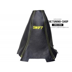 "FOR SUZUKI SWIFT 2010+ GEAR GAITER SHIFT BOOT BLACK LEATHER YELLOW ""SWIFT"" EMBROIDERY"