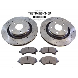 2x Front Brake Disc Rotors 68040177 AA & Brake Pads D1273 CBK For JEEP WRANGLER 2007-2016