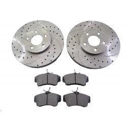 2x Brake Disc Rotor Front 53001A Drilled Brake Pads D856 CBK For JEEP LIBERTY 2002-2007
