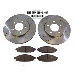 2x Brake Disc Rotor Front 53019A Drilled & Brake Pads D997 CBK For Chrysler Pacifica 2004-2008