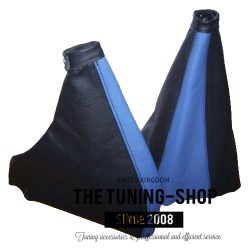 FOR  FIAT COUPE GEAR & HANDBRAKE GAITERS / BOOTS BLACK+BLUE LEATHER