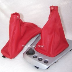 ALFA ROMEO 156 FL GEAR+HANDBRAKE GAITERS BOOTS RED LEATHER 03+