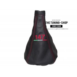 """FOR ALFA ROMEO 147 2005-2010 GEAR GAITER BLACK LEATHER WITH RED """"147"""" EMBROIDERY"""