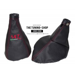 "FOR ALFA ROMEO 147 2000-2004 GEAR & HANDBRAKE GAITER BLACK LEATHER WITH RED ""147"" EMBROIDERY"
