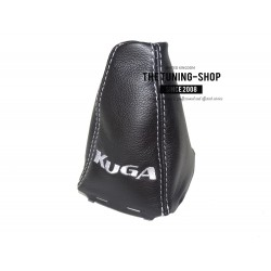 FOR FORD KUGA 2008-2012 GEAR GAITER BLACK LEATHER RED EMBROIDERY WITH FRAME