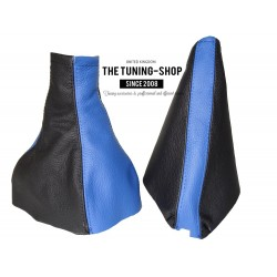 FOR VAUXHALL MERIVA A 2002-2010 BLACK + BLUE LEATHER GEAR HANDBRAKE GAITER