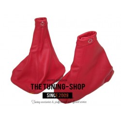 FOR ALFA ROMEO 155 GEAR+HANDBRAKE GAITERS SET RED LEATHER NEW