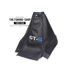 FOR  NISSAN SKYLINE R34 GTS GTR 1998-2002 BLACK LEATHER GEAR GAITER RED STITCHING EMBROIDERY GT-R
