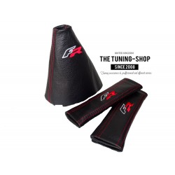 FOR SEAT LEON MK3 2012-2015 GEAR GAITER & SEAT BELT COVERS  BLACK LEATHER FR EMBROIDERY