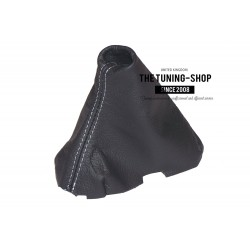 VOLVO C30 C70 S40 V50 2004-2013 GEAR GAITER BLACK LEATHER GREY STITCHING
