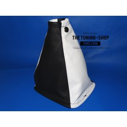 FOR NISSAN X-TRAIL 04-07 6 SPEED GEAR GAITER BLACK+ WHITE LEATHER
