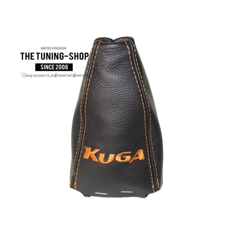for ford kuga 2008 2012 gear gaiter black leather orange embroidery with frame the tuning shop ltd. Black Bedroom Furniture Sets. Home Design Ideas