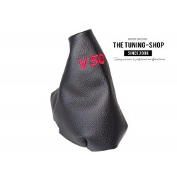 VOLVO S40 2004-2012 GEAR GAITER BLACK LEATHER RED EMBROIDERY