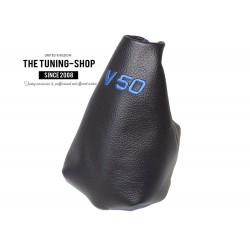 VOLVO V50 2004-2012 GEAR GAITER BLACK LEATHER RED EMBROIDERY