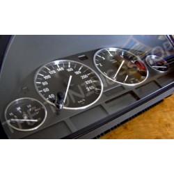 BMW E38 E39 X5 ALUMINIUM SPEEDO DIAL RINGS SURROUNDS SET NEW