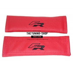 "FOR CORVETTE SEAT BELT SHOULDERS COVERS RED LEATHER ""CORVETTE"" RED EMBROIDERY"