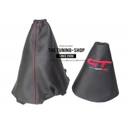 FOR RENAULT MEGANE MK3 2008-2015 GEAR & HANDBRAKE GAITER BLACK LEATHER RED STITCH