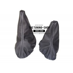 FOR  MERCEDES G CLASS GEAR & HI-LOW GAITER BLACK LEATHER WHITE STITCHING
